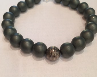 Man bracelet in mat hematine gemstone