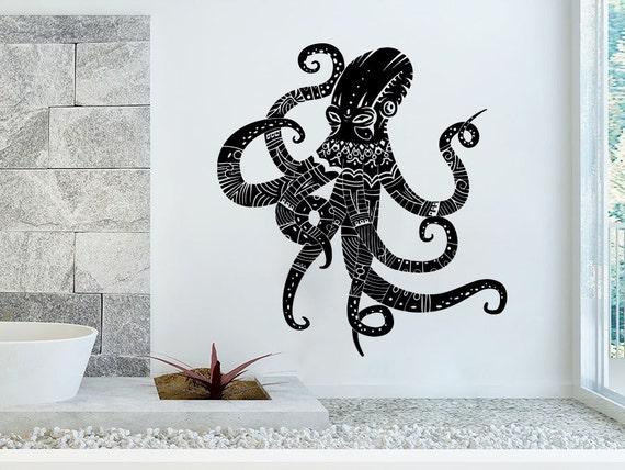 wall decal vinyl sticker decals octopus tentacles fish deep. Black Bedroom Furniture Sets. Home Design Ideas