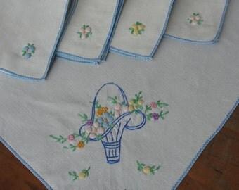 Vintage Square Tablecloth Set-Farmhouse Style-Patio Linen-Garden Party