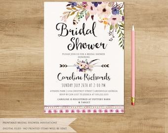 Floral Boho Bridal Shower Invitation. Printable Bridal Shower Invitation. Boho Digital Invitation. Bohemia Wedding Invitation. Boho Wedding