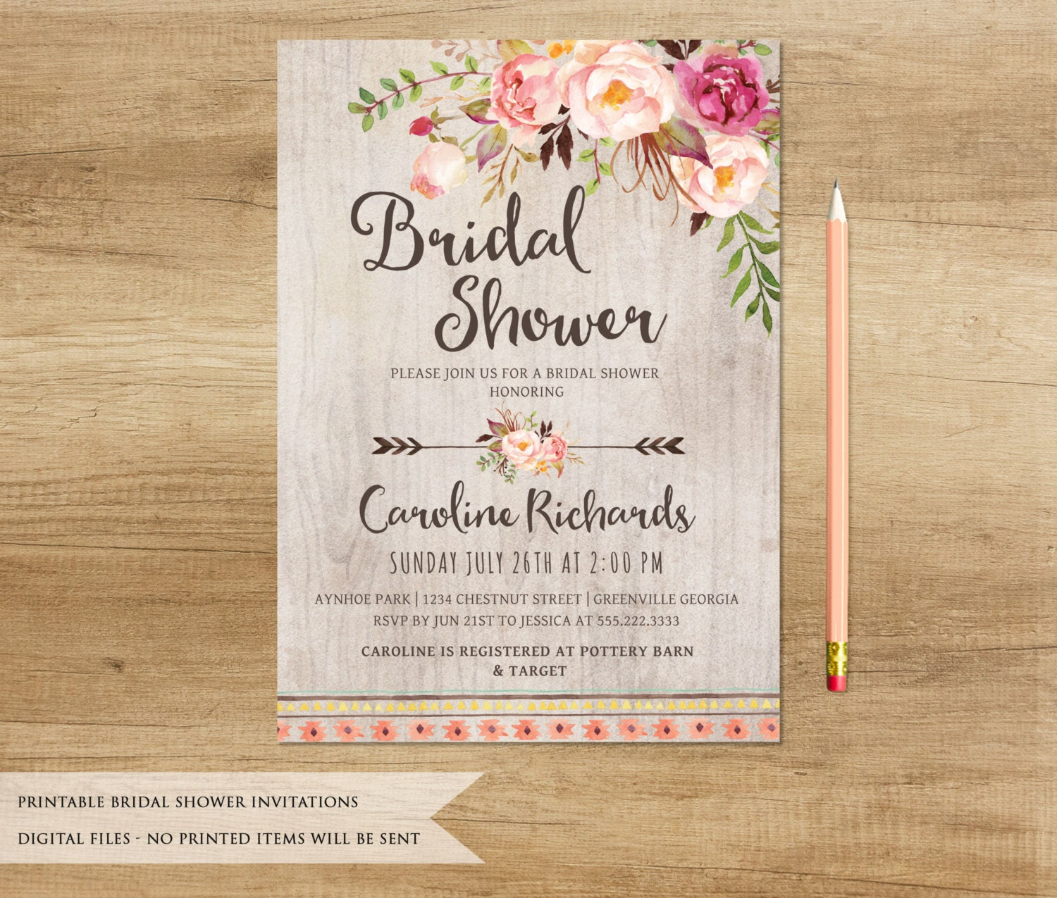Soft image with printable bridal shower invitations