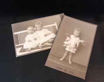 Two Antique Cabinet Cards of toddlers.