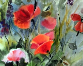 "Watercolor ""Picture with a poppy"""