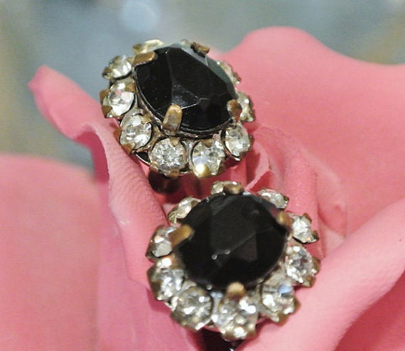 Vintage Rhinestone Earrings Black Glass and Crystal Earrings Screw Back 1940s 50s Antique Old Hollywood Regency Earrings Wedding Bride