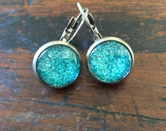 12mm Blue Glitter Antique Silver Round Glass Dome Lever Back Earrings