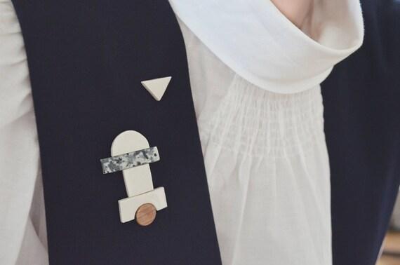 Set of 6 porcelain & wood pins. Minimalist geometric abstract jewel. Porcelain jewelry. Building Bricks.