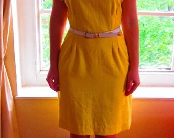 SALE // Vintage Bright Yellow Linen Day/Work Dress