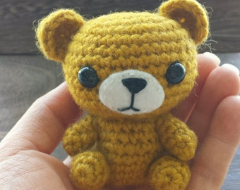 Cute Yellow Crochet Bear, Small Amigurumi Bear, Kawaii, Handmade - Made to Order