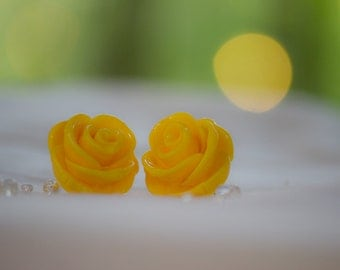 Sunflower Yellow Large Rose Earrings