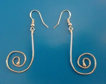 "Stering Silver Spiral Dangle Earrings 2"""
