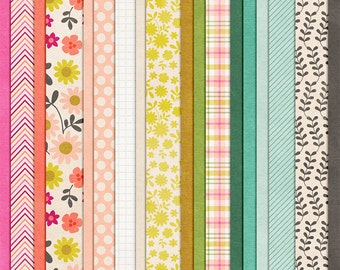 Thrive - Floral Digital Paper Scrapbooking Pack