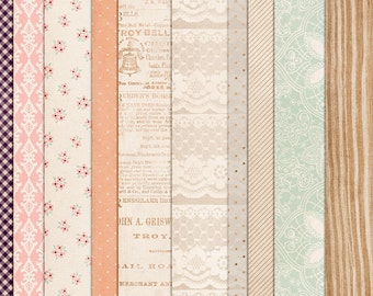 Hopeless Romantic - Vintage & Shabby Digital Papers - 12 x 12 - Scrapbooking Pack - Perfect for Heritage Pages!