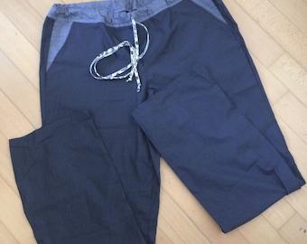 Pajama bottom blue/grey gingham