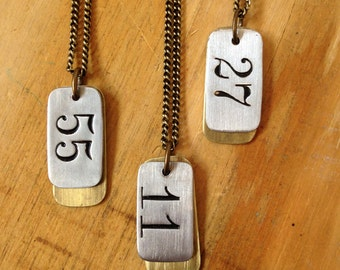 Salvaged Custom Number Necklace - Dog Tags style