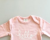 Hello I'm New Here onepiece,  funny baby gift, baby girl present, girl baby shower (0-3 mo / newborn - petal pink - long sleeves)