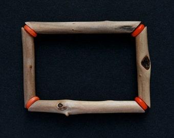 driftwood bangle - stretch bracelet - wood jewelry - geometric - zen