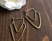 Chevron Hoop Earrings - Sterling Silver and Brass