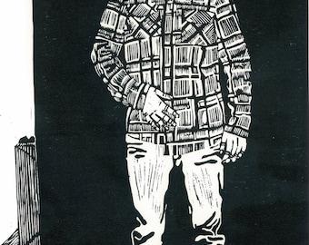 LINO PRINT - Black and White Portrait - Block Print STEVE 13x20 - Ready to Ship
