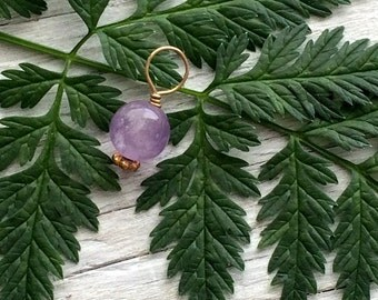 Amethyst Pendant -  14k gold fill wire wrapped gemstone dangle charm