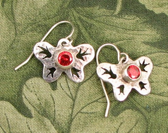 """GEM style Butterfly Earrings with """"Red CZ faceted stones - dainty, red OOAK"""