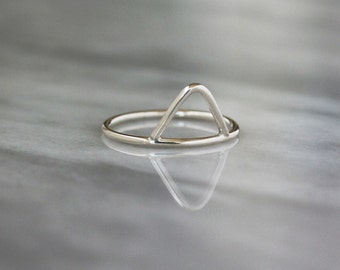 Peak Ring, Sterling Silver Stacking Ring, Triangle Shape, Argentium Silver Band, Geometric Jewelry, Modern Minimal Design