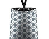 Car Trash Bag // Auto Trash Bag // Car Accessories // Car Litter Bag // Car Garbage Bag - Honeycomb dark grey silver white // Car Organizer