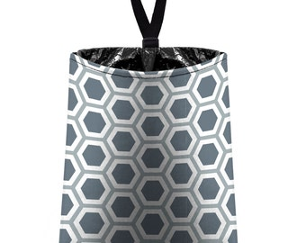 Car Trash Bag // Auto Trash Bag // Car Accessories // Car Litter Bag // Car Garbage Bag - Honeycomb dark grey silver white // Car Organizer