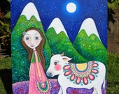 Nandi Mixed Media Original Painting by Lindy Longhurst Girl and Cow Art