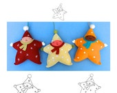 Star Baby Ornament pdf Pattern Tutorial Felt toy embroidery hand stitch