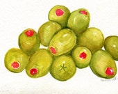 Olives painting, Green Olives watercolor painting original, Small olive art,  kitchen, 5 x 7  food wall art, Spanish olives, Pimentos