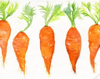5 Carrots Watercolor Paintings original,  Vegetables series, 5 x 7, original watercolour