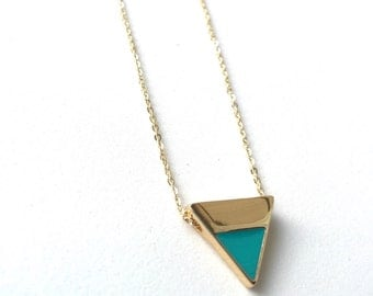 Gold + Turquoise Triangle Necklace
