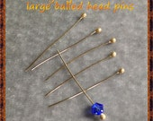 14k gold ball head pins headpins gold beading pins 14k yellow gold findings for wire wrapping 26 gauge 1 inch custom made to order