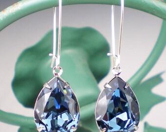 Blue Rhinestone Earrings Wedding Jewelry Bridesmaid Earrings Swarovski Denim Blue
