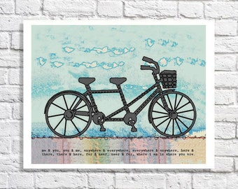 Bicycle Wall Art Tandem Bike Print Tandem Bicycle Artwork Bicycle Wedding Gift Bicycle Built For Two Decor Bike Picture Love Quote Sign