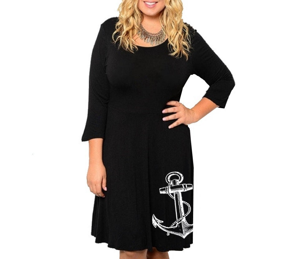 Anchor Dress womens Summer blue Plus size dresses cute