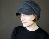 Womens newsboy cap, black denim beret, ladies fisherman hat, handmade hat, sewn fabric cap, trendy hats, spring fashion : Fine & Dandy