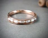 solid 14k rose gold petite pearl stack ring