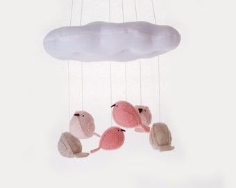Baby mobile - cloud and bird mobile - peach and pink nursery