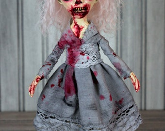 Zombie Doll With Blood - Pink Hair & Pink Glass Eyes Creepy Doll - Annika