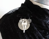 Antiqued Silver Deer Scarf Pin , Woodland Christmas Costume Jewelry Brooch Pin