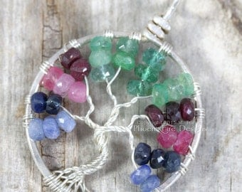 Tricolor Blue Sapphire Ruby Emerald Tree of Life Pendant Multicolor Gemstone Sterling Silver Wire Wrapped Jewelry Eco friendly recycled RTS