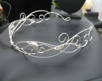 Woodland Bridal Circlet, Sterling 925 Wedding Circlet, Woodland Renaissance Wedding Tiara, Leaf Circlet, Sterling Silver Headpiece, Gemstone