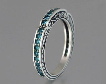 CARYATID wedding band in 14k white gold with London Blue Topaz