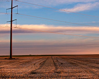 Wisconsin field at sunrise, Rural Landscape Photography, Agriculture, Sunset, Wisconsin Decor, Brown and blue landscape