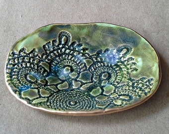 Moss Green Lace Ring Holder Dish
