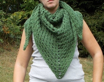 CLEARANCE-Triangle Shawl-Stole-Triangle Scarf- Wrap- Granny Design-Thyme Green-Crochet-Ready to ship