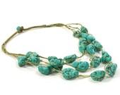 Chunky Turquoise Necklace / Multi Strand Huge Raw Turquoise Beads on Hemp / Vintage 1980s