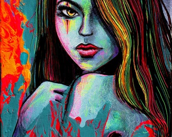 Figure Painting - Mixed Media - Portrait - Pop Surrealism - fine art by Aja 8x10 inches on canvas Indelible