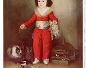 Francisco Goya Fine Art Print Reproduction Home Living Home Decor Wall Hanging Boy in Red Costume Playing with Pet Magpie Birdcage Cats